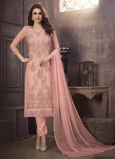 Pink Organza Straight Cut Suit