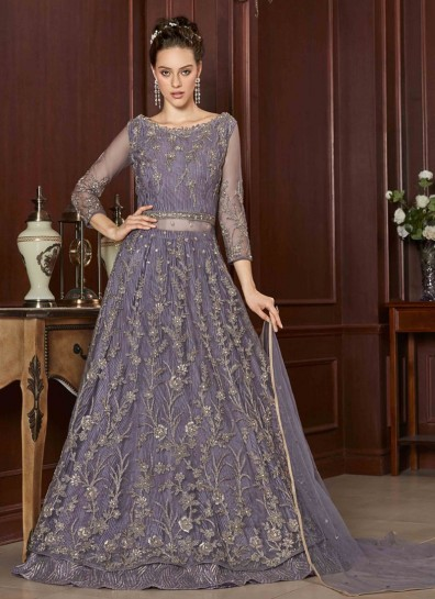 Purple Net Abaya Suit