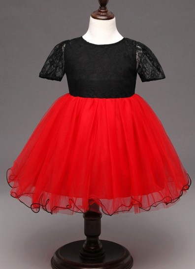 red black net girls gown