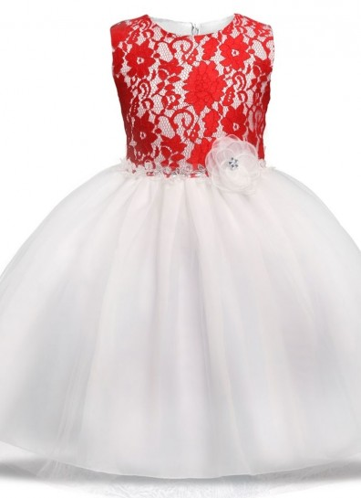 red white net girls gown