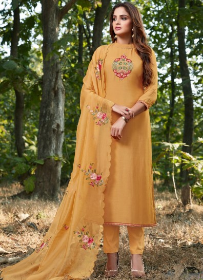 Yellow Cotton Silk Straight Cut Suit