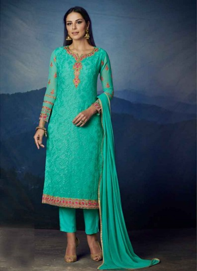 Sea Green Georgette Straight Cut Suit