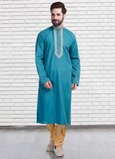 Turquoise Cotton Fancy Kurta Pyjama