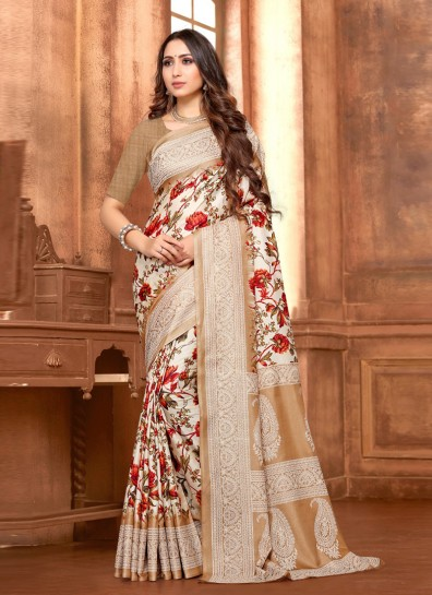 Brown Fancy Fabric Printed Saree