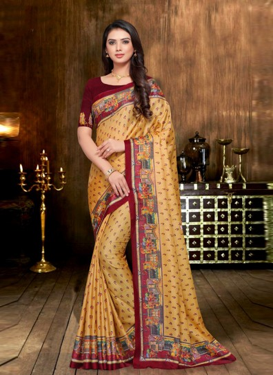 Gold Fancy Fabric Printed Saree