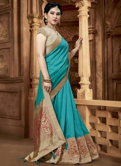 Turquoise Fancy Silk Designer Saree