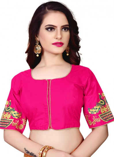 Pink Silk Readymade Blouse