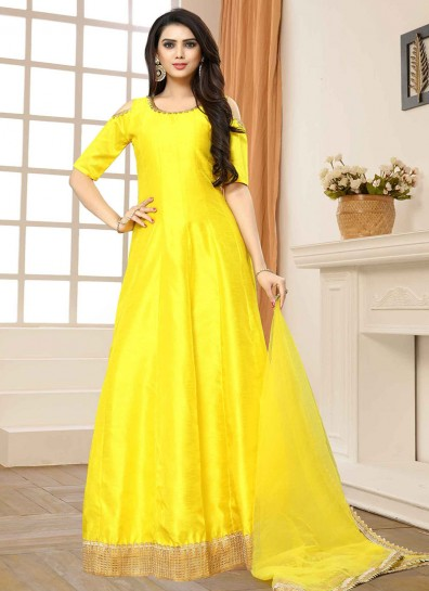 Yellow Banglori Silk Cold Shoulder Abaya Suit