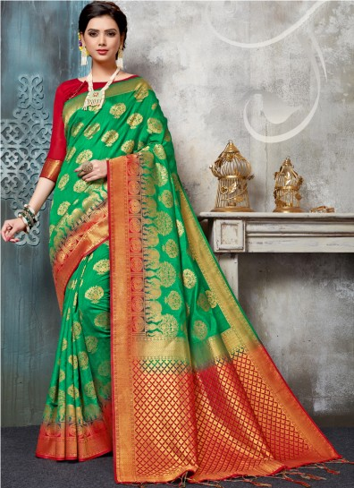 Green Cotton Silk Regional Saree