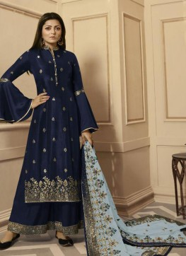 Blue Georgette Palazzo Suit