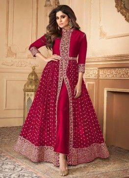 Pink Georgette IndoWestern Style Suit