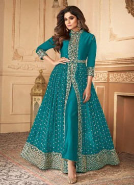 Blue Georgette IndoWestern Style Suit