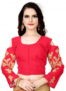 Red Silk Readymade Blouse