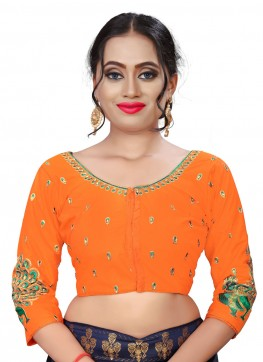 Orange Silk Readymade Blouse