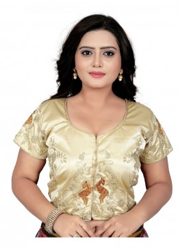 Cream Silk Readymade Blouse