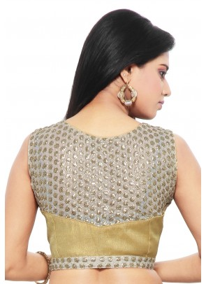 Art Silk and Georgette Blouse in Beige and Off White